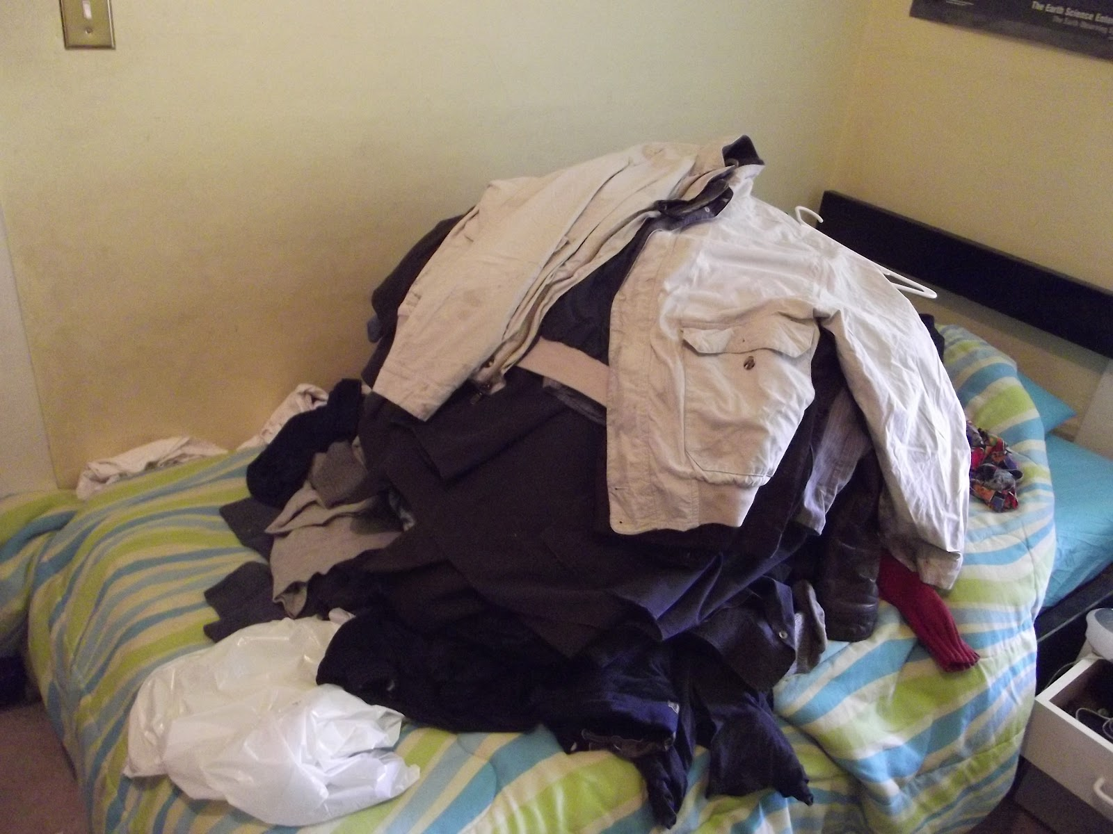 A pile of clothes to declutter