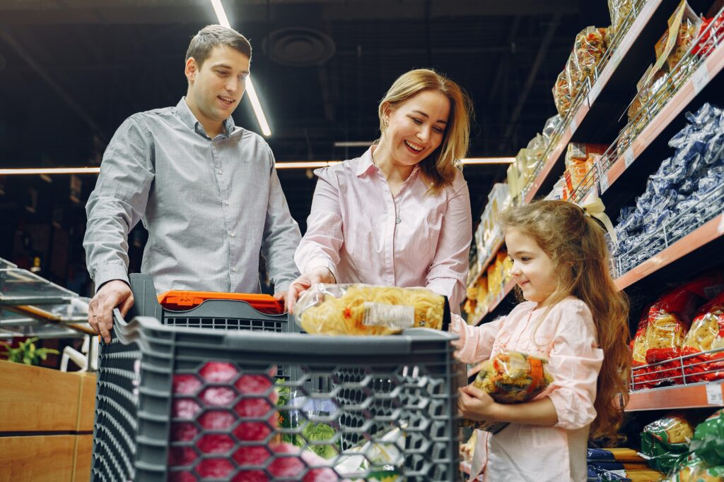 Middle class family grocery shopping-Perceptions of Poverty