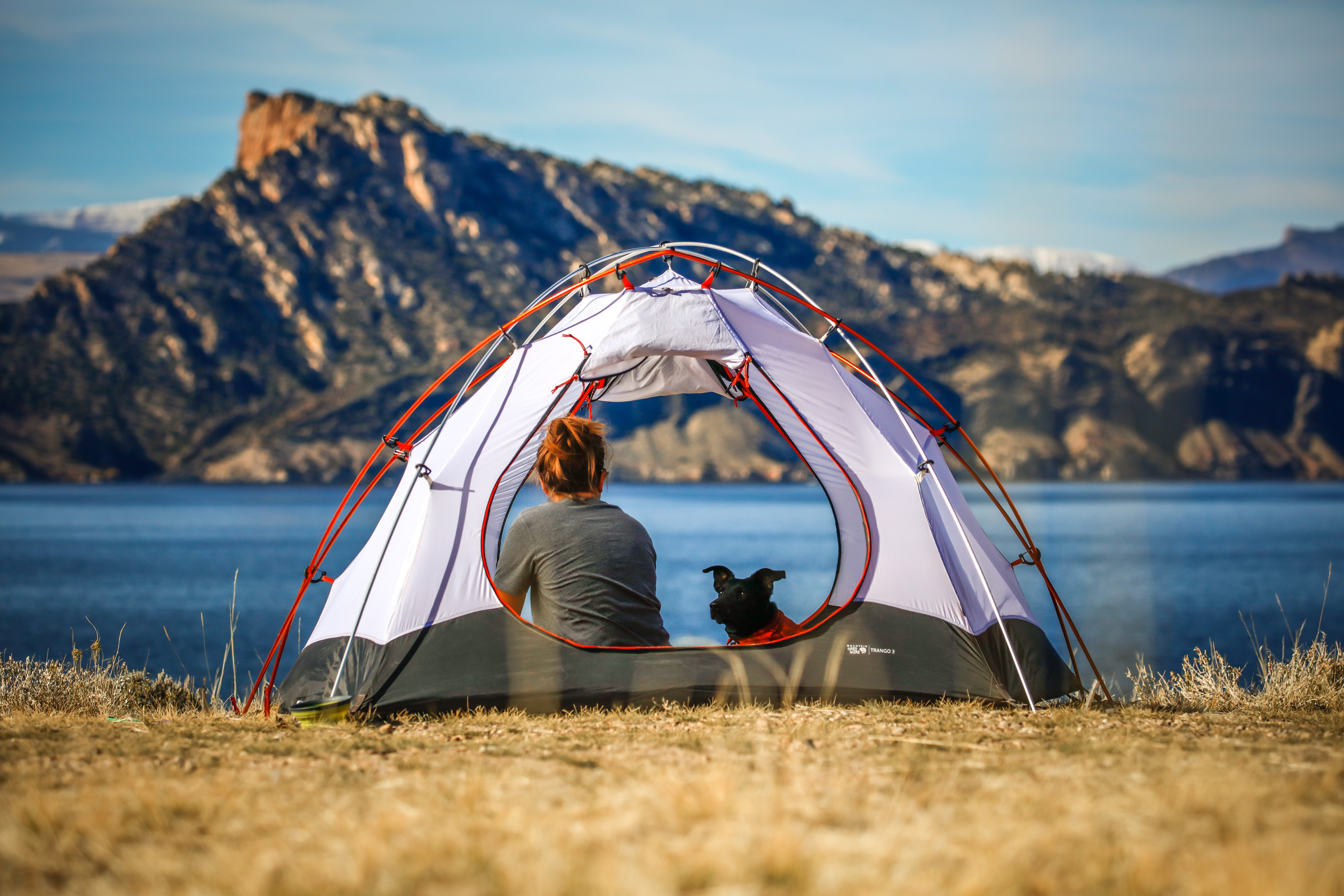 Tent camping on a lakeside
