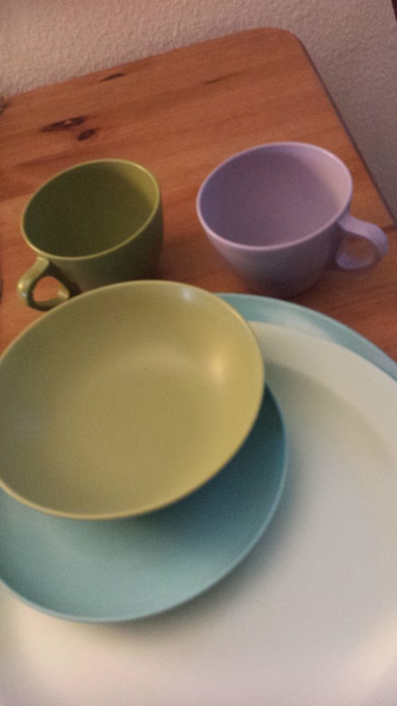 My fantasy self has a lot of mid-century china. Pictured are some melamine plates, cups, and a bowl