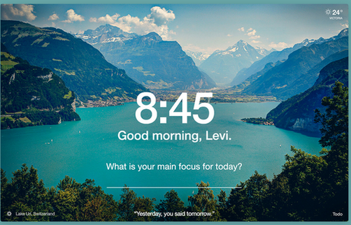 Swiss lake and mountains, a demonstration photo from the Momentum extension