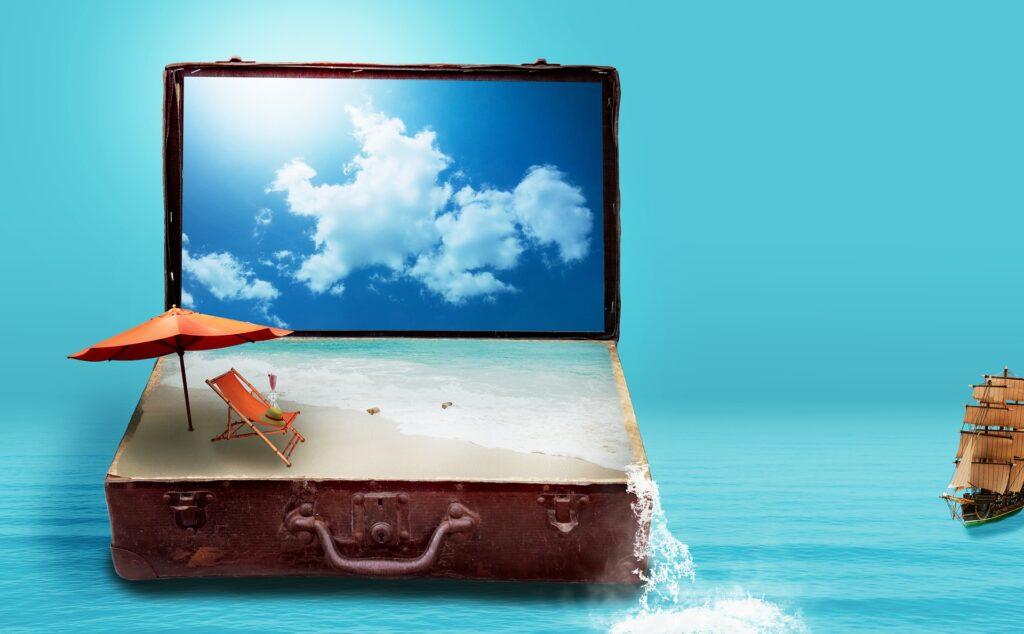 A seaside tableau inside a suitcase